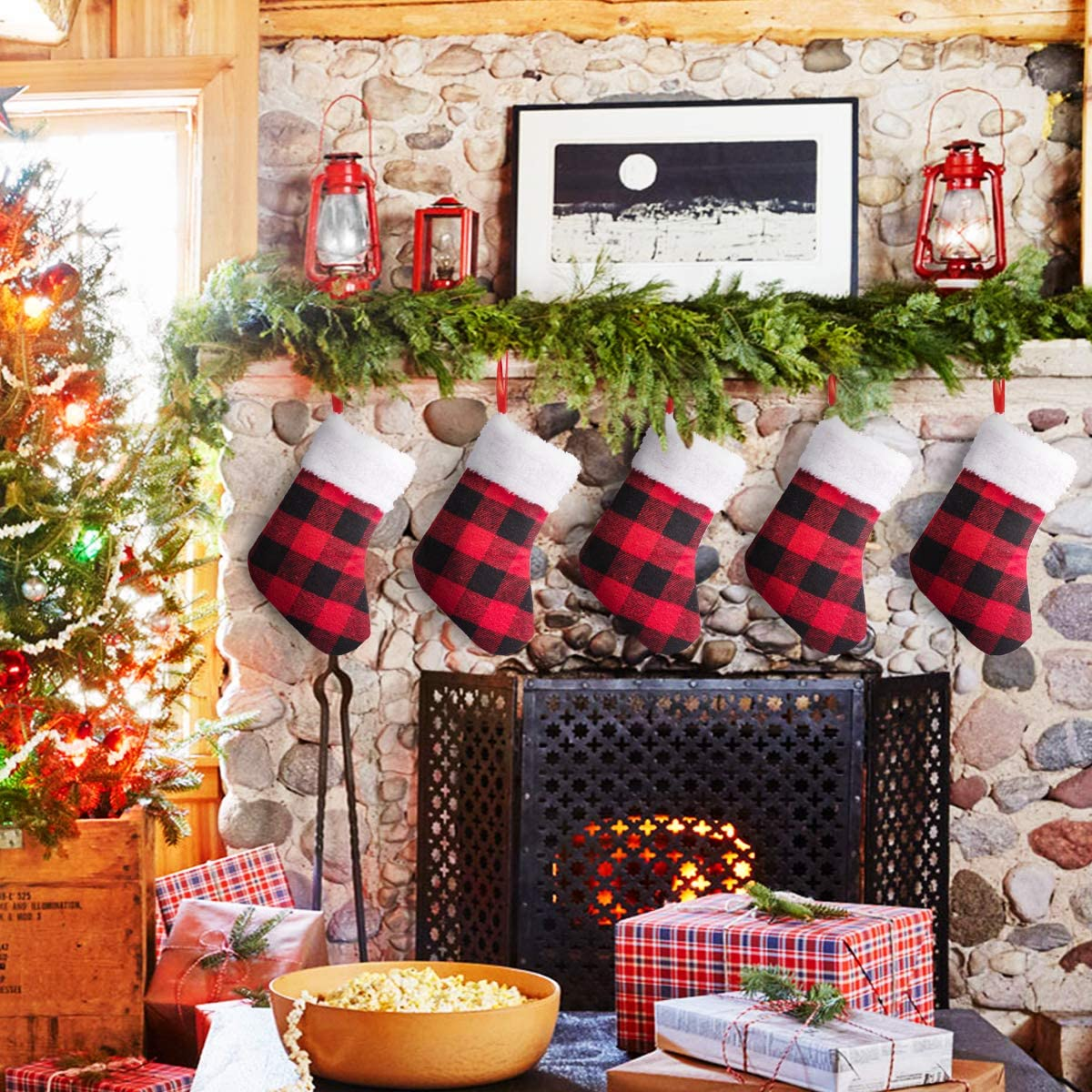 SEKKVY 12pcs Christmas Decoration Stockings, 7 Inch Red Plaid Polyester Candy Pouch Bag Mini Christmas Stockings for Xmas Tree, Home, Family Garden Decoration