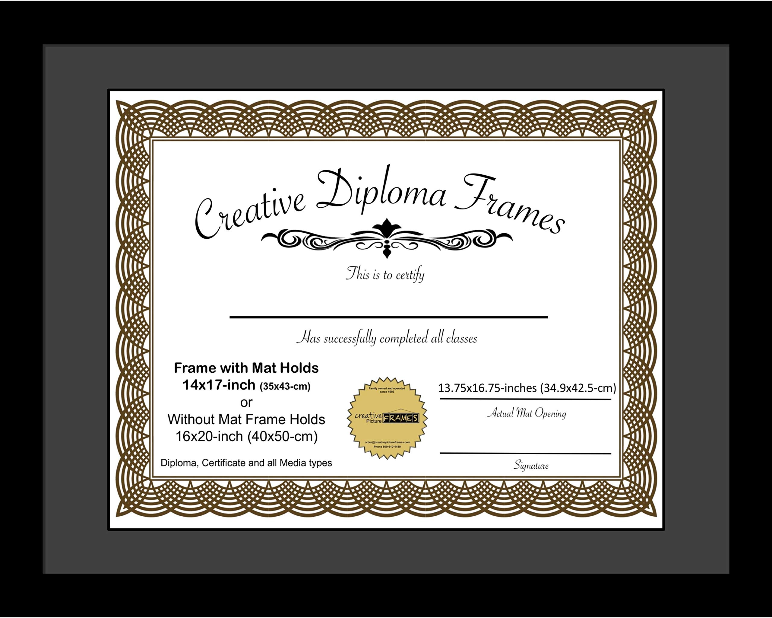 CreativePF [1620bk-b] Satin Black Large Diploma Frame with Black Mat Holds 14x17-inch Documents with Glass and Installed Wall Hanger by Creative Picture Frames