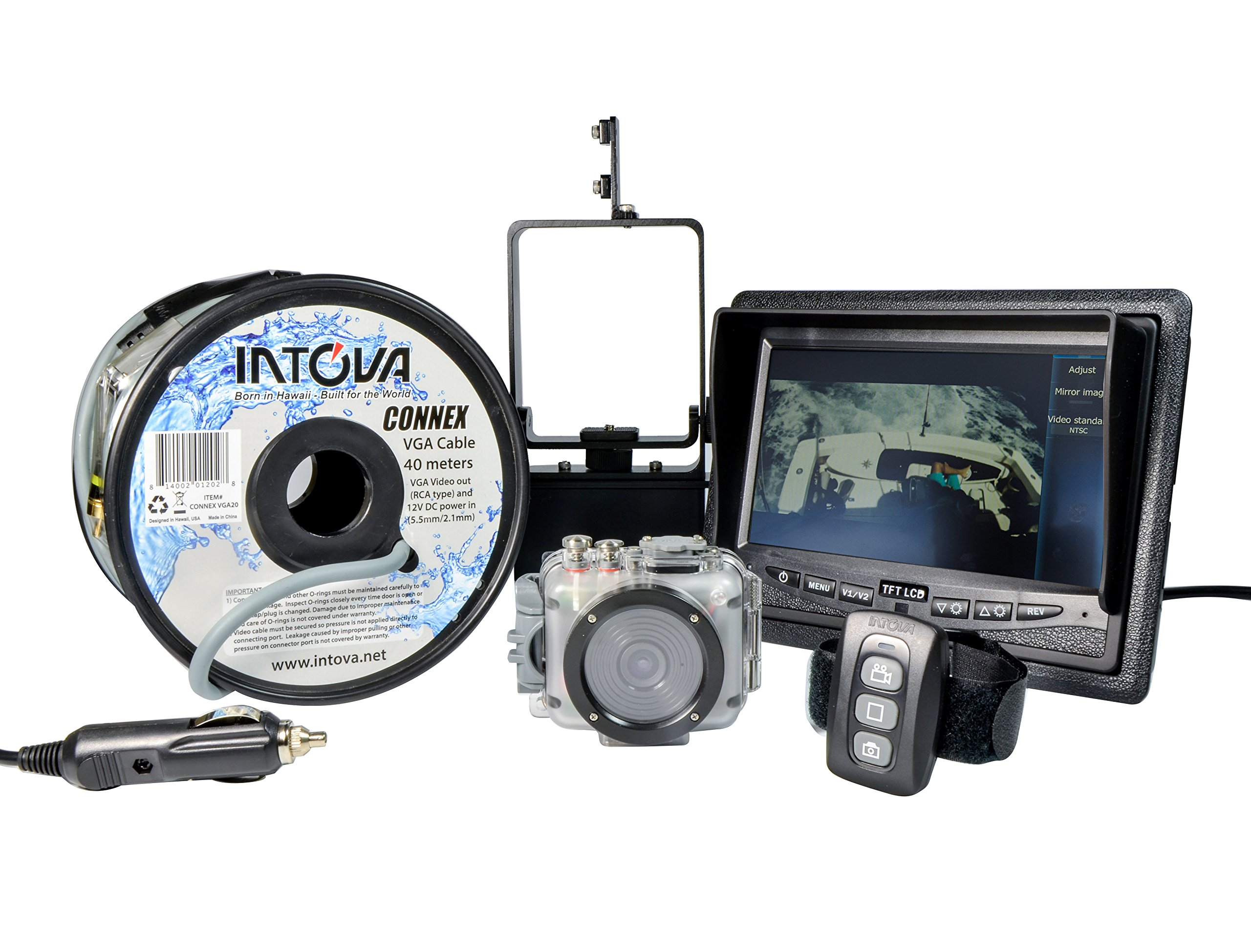 Intova Connex Underwater HD Video Camera Bundle with Color LCD Monitor, Cable, Remote Control, and Mounting Bracket