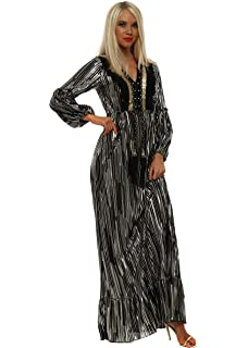 867414e27ba7 Port Boutique Black Metallic Pleated Low V Jumpsuit. £41.99 · Port Boutique  Black Pleated Gold Foil Embellished Maxi Dress