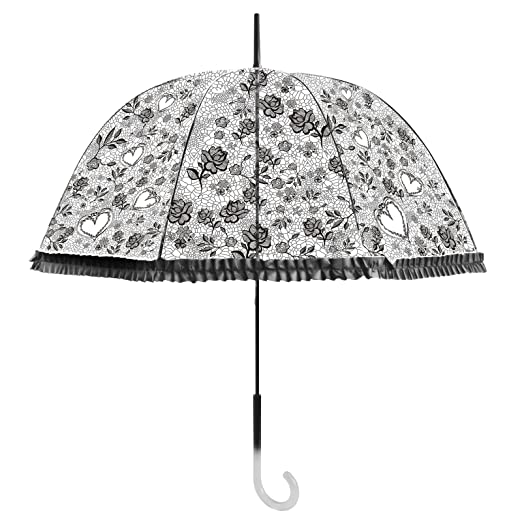 Becko Black Stick Umbrella/Flower and Heart Pattern Clear Canopy Bubble Umbrella/Transparent Dome  sc 1 st  Amazon.com & Amazon.com : Becko Black Stick Umbrella/Flower and Heart Pattern ...