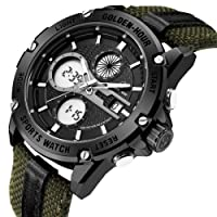 Watches Men Sport Digital Analog Waterproof Stainless Steel Multifunctional Military Leather & Fabric Strap Army Wrist Watch