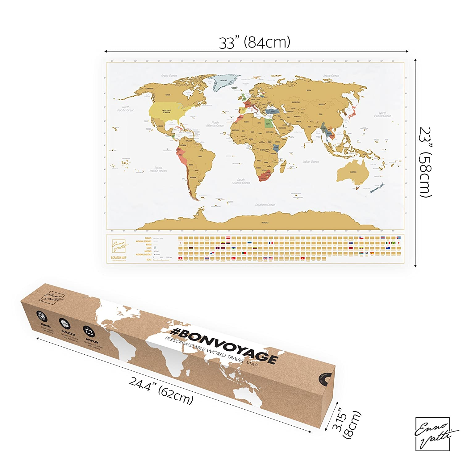 Amazon scratchable world map with flags personalized amazon scratchable world map with flags personalized travel tracker poster remember and share your adventures unique design by enno vatti gumiabroncs Gallery