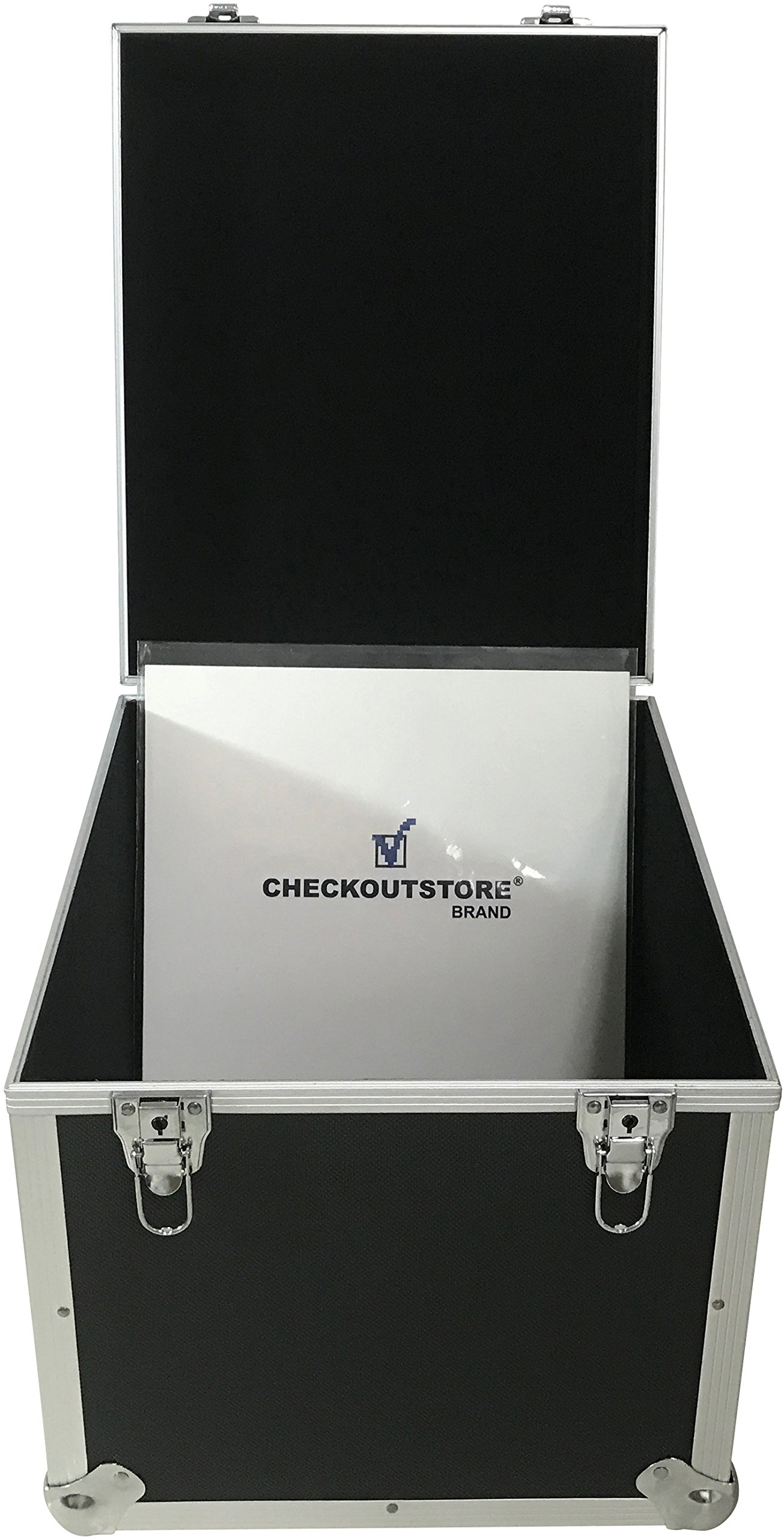 CheckOutStore (1) Aluminum Heavy Duty 12'' LP Vinyl Record Album Storage Box (Black/Holds 125 Records) by CheckOutStore