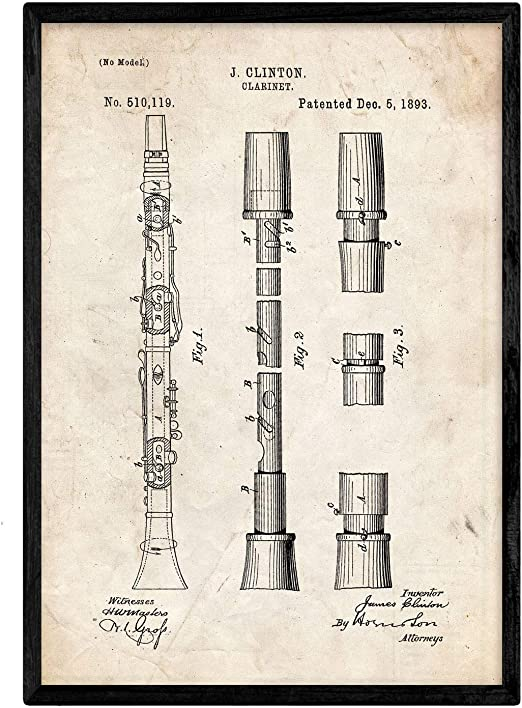 Nacnic Poster con Patente de Clarinete. Lámina con diseño de ...