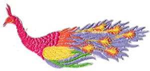 Peacock Bird Embroidered Iron on Patch (Pink)