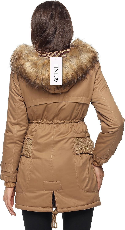 Finejo Women Winter Warm Fleece Parka Thicken Jacket Hooded Down Coat Khaki XXX-Large Khaki XXX-Large
