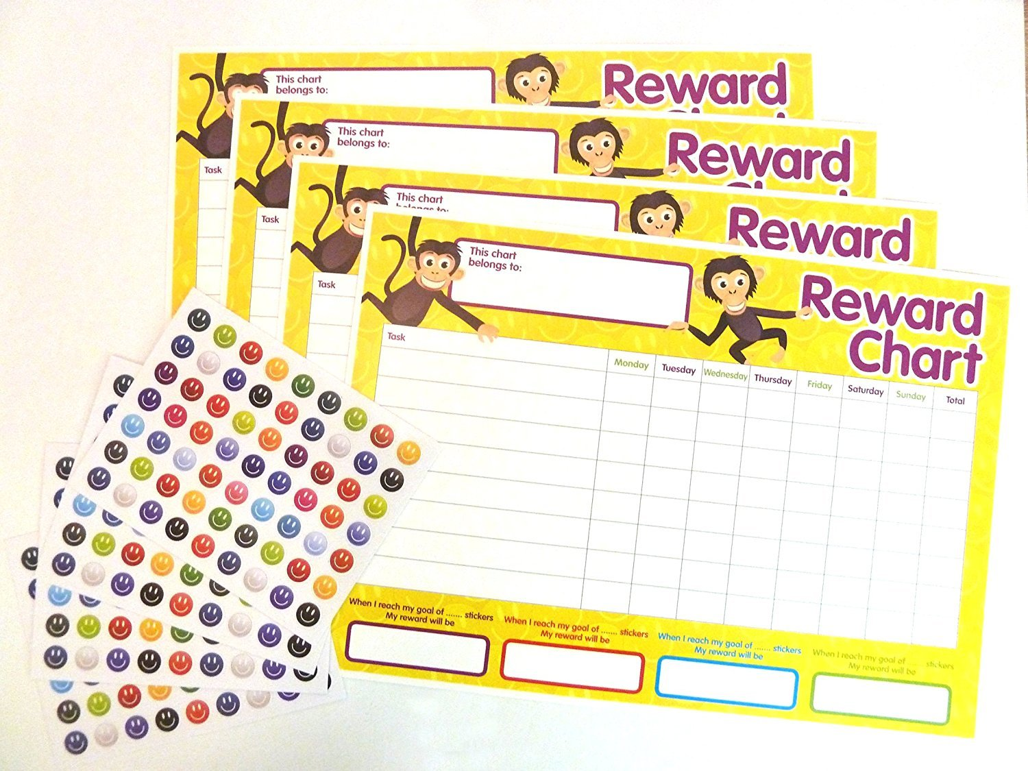 2 Packs of 4 Children's Reward Chart Plus Stickers County Stationery