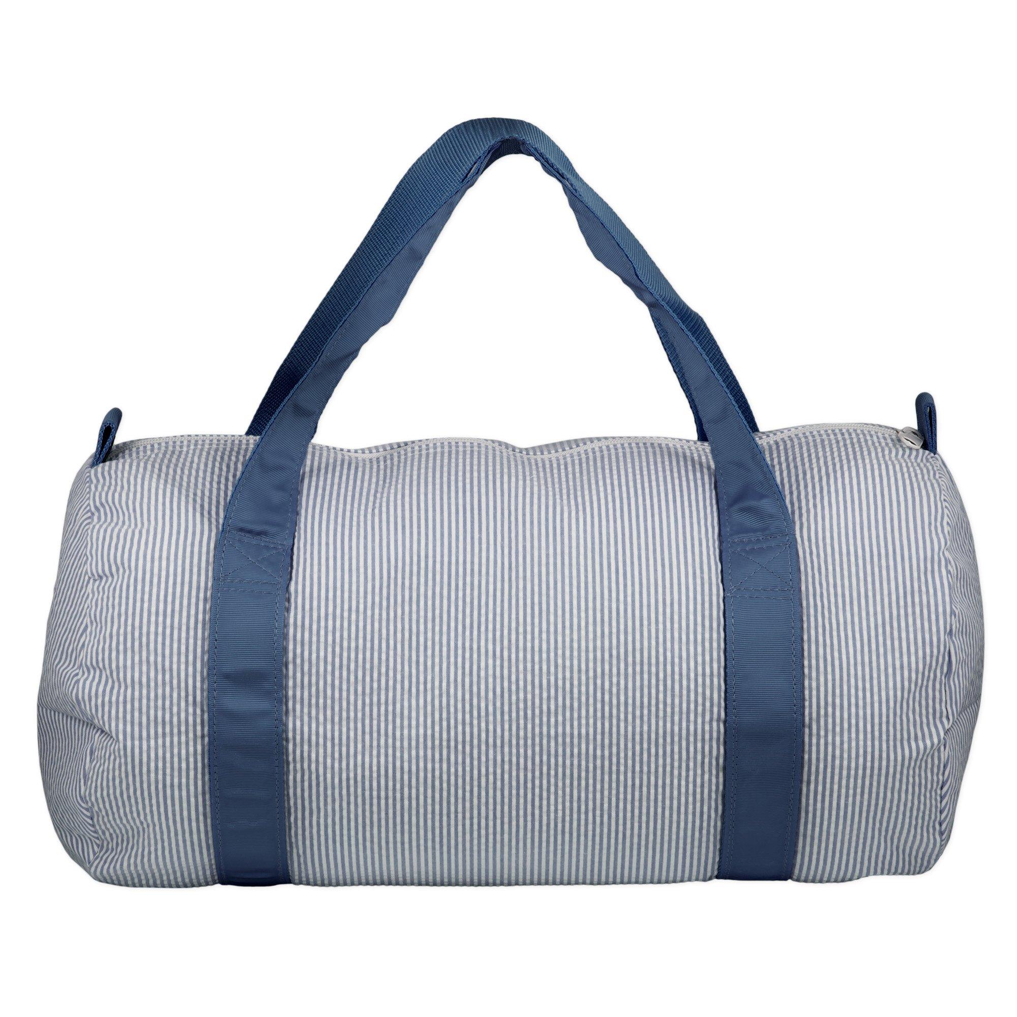 Cotton Medium Round Overnight Gym Duffel Bag - Navy Stripes
