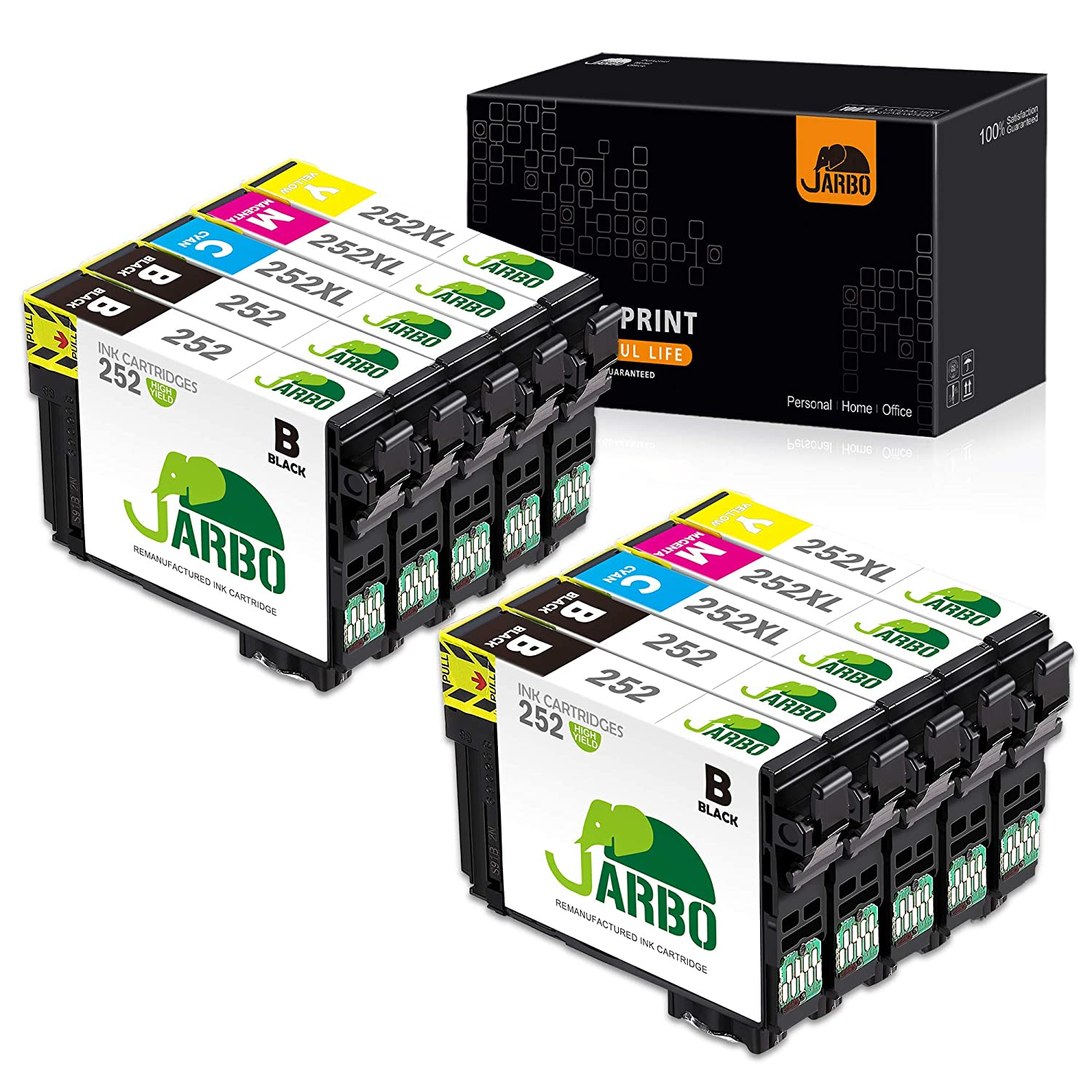 4BK, 2C, 2M, 2Y JARBO Remanufactured Ink Cartridge Replacement for Epson 252XL 252 XL T252 T252XL to use with Workforce WF-3640 WF-3620 WF-7110 WF-7710 WF-7720 Printer 10 Packs