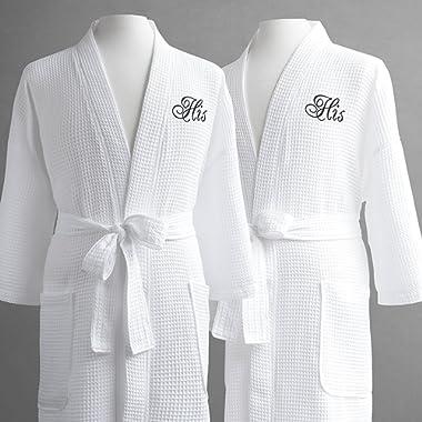 Same-Sex Couple's Waffle Weave Bathrobe Set-100% Egyptian Cotton-Unisex/One Size Fits Most-Spa Robe, Luxurious,Plush-His/His