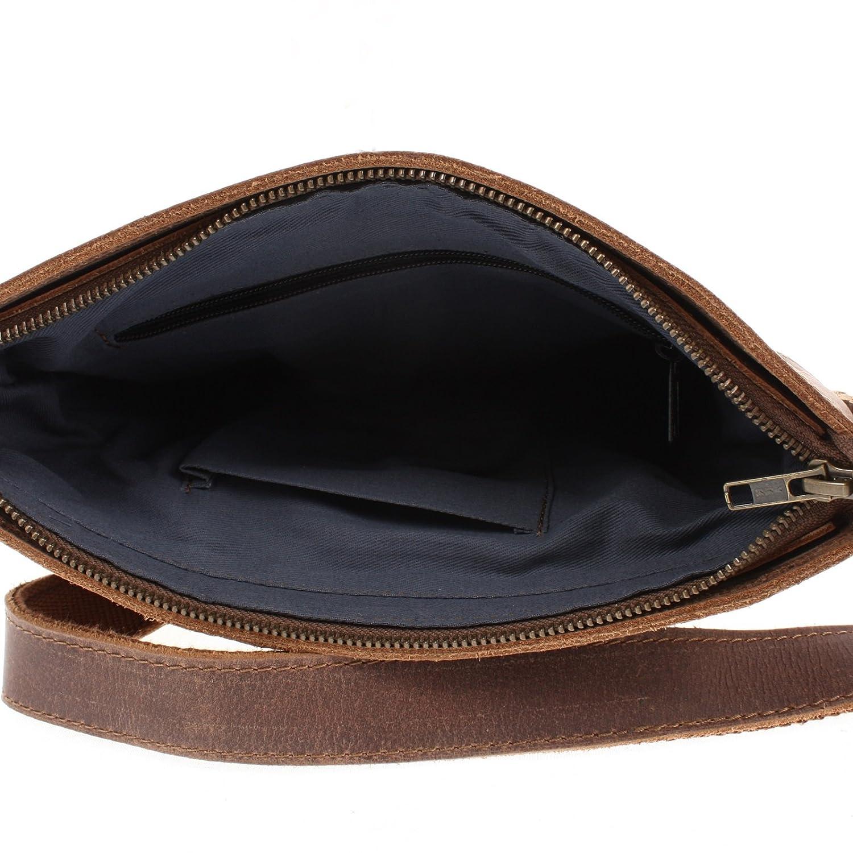 Leconi Sac en bandouill/ère Sacoche en cuir pour femmes hommes Taille moyenne Sac pour hommes Look vintage Cuir 27x30x7cm LE3036