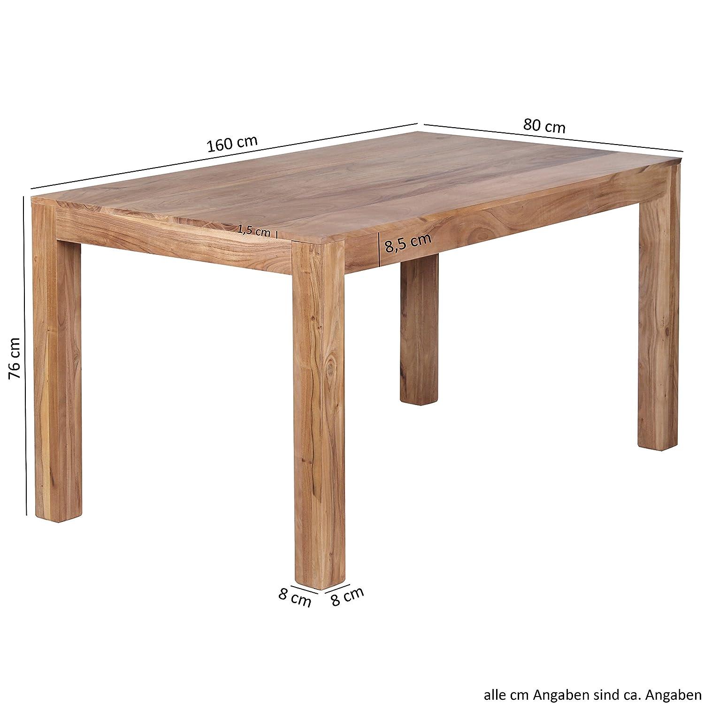 FineBuy Esstisch Massivholz Akazie Akazie Akazie 120 x 60 x 76 cm Esszimmer-Tisch Design Küchentisch modern Landhaus-Stil Holztisch rechteckig dunkel-braun Natur-Produkt Massivholzmöbel Echt-Holz unbehandelt 020979