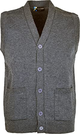 Mens Sleeveless Cardigan Knitted Button Waistcoat Classic Style ...