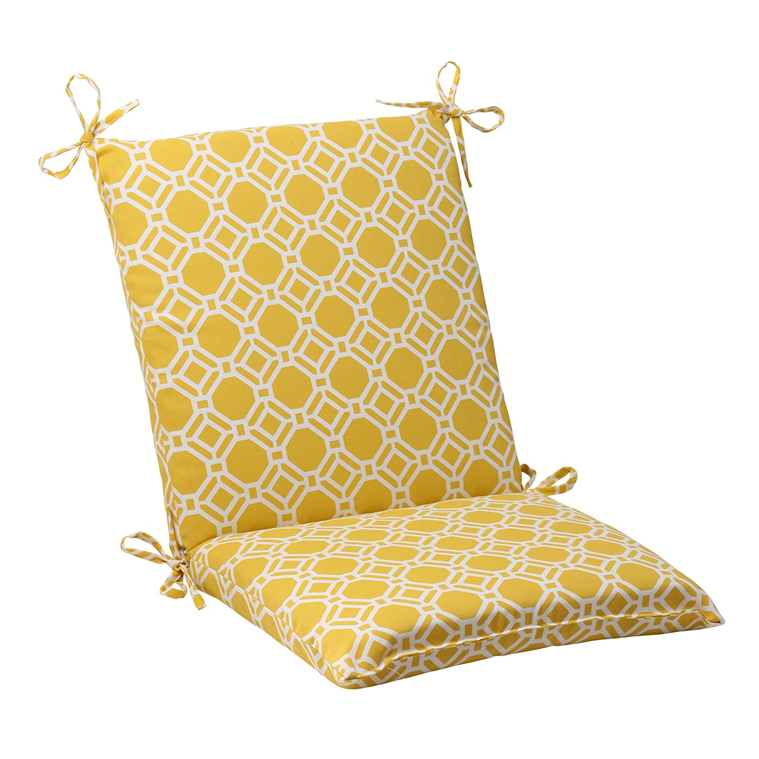Pillow Perfect Outdoor Rossmere Squared Chair Cushion, Yellow