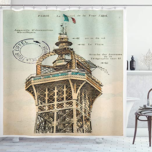 Amazon Com Ambesonne Eiffel Tower Shower Curtain Vintage Postcard With Eiffel Tower Paris France 1910 Rare Antique Group Image Cloth Fabric Bathroom Decor Set With Hooks 75 Long Beige Home Kitchen