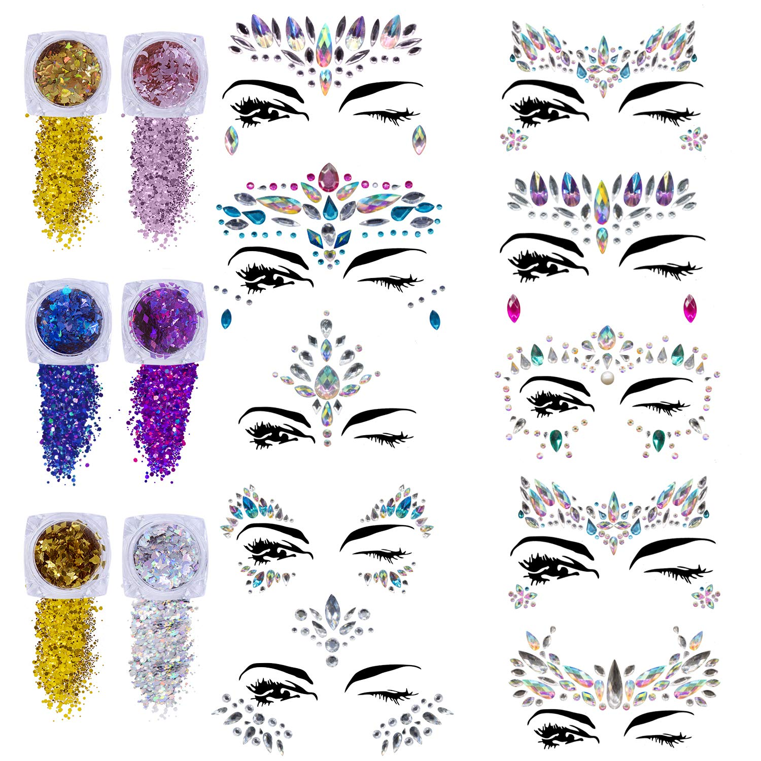 Face Gems Glitter - 10 Sets Women Mermaid Face Jewels with 6 Boxes Chunky Face Glitter, Crystals Face Stickers, Eyes Face Body Temporary Tattoos Fit for Festival Party