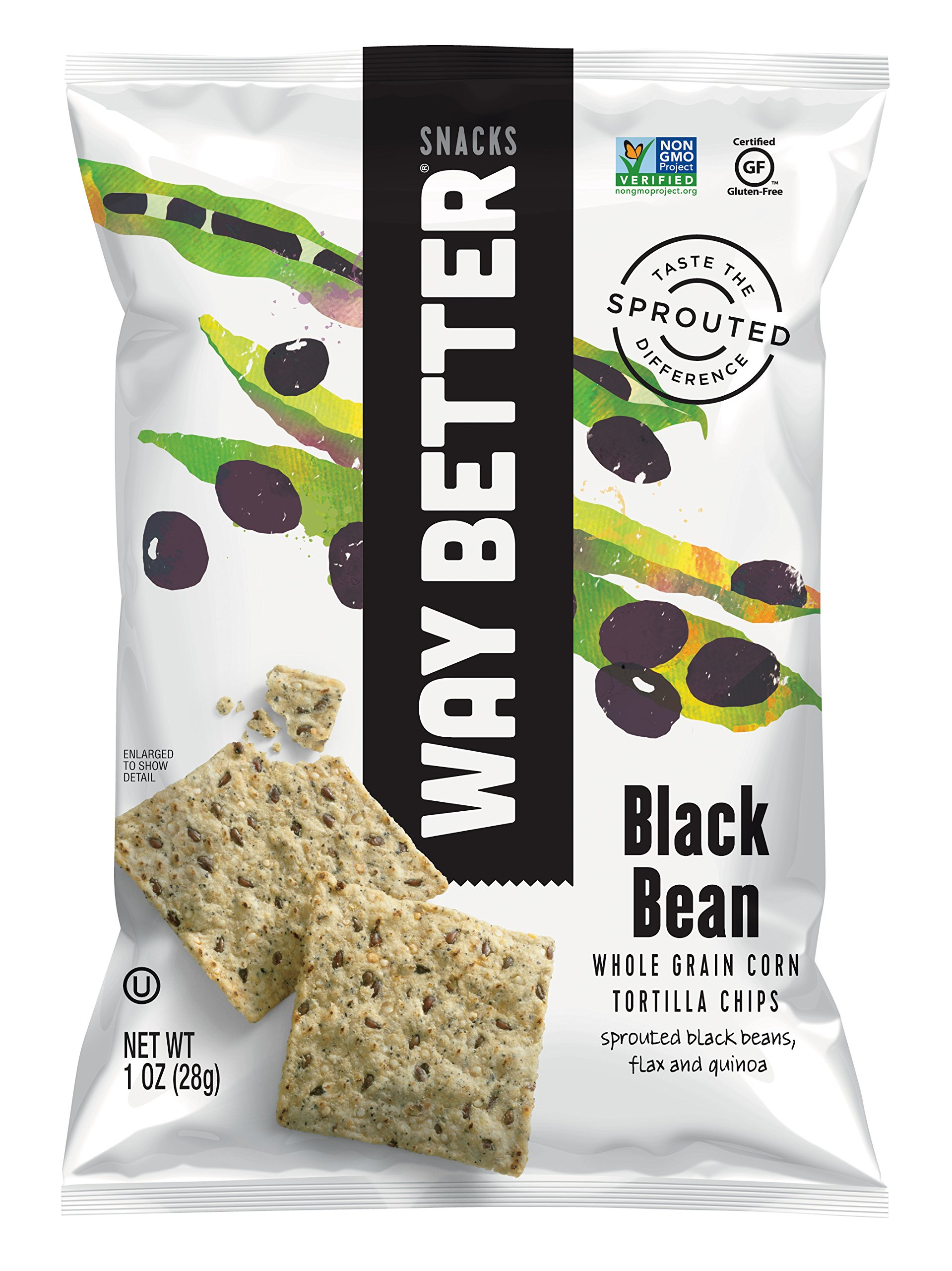Way Better Snacks Sprouted Gluten Free Tortilla Chips, Beyond Black Bean, 1 Ounce (Pack of 12)