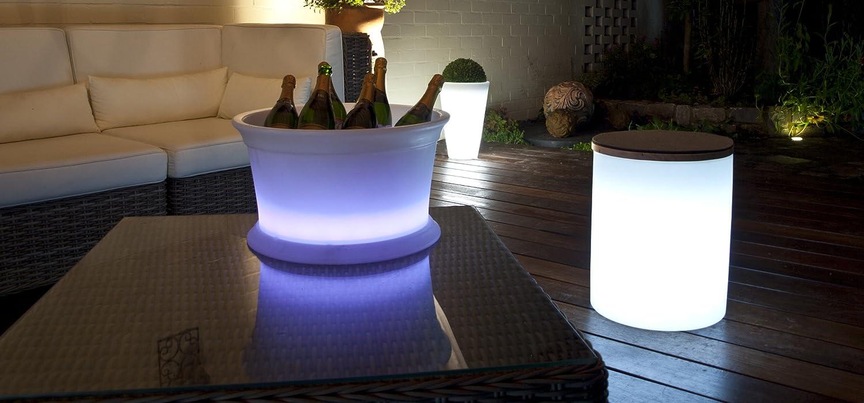 LED Leuchtzylinder Beistelltisch Hocker Pflanzk/übel Shining Drum 45cm hoch, /Ø 37 cm, RGB Farbwechsel, dimmbar, Holzabdeckung, 10l, Indoor /& Outdoor wei/ß 8 seasons design