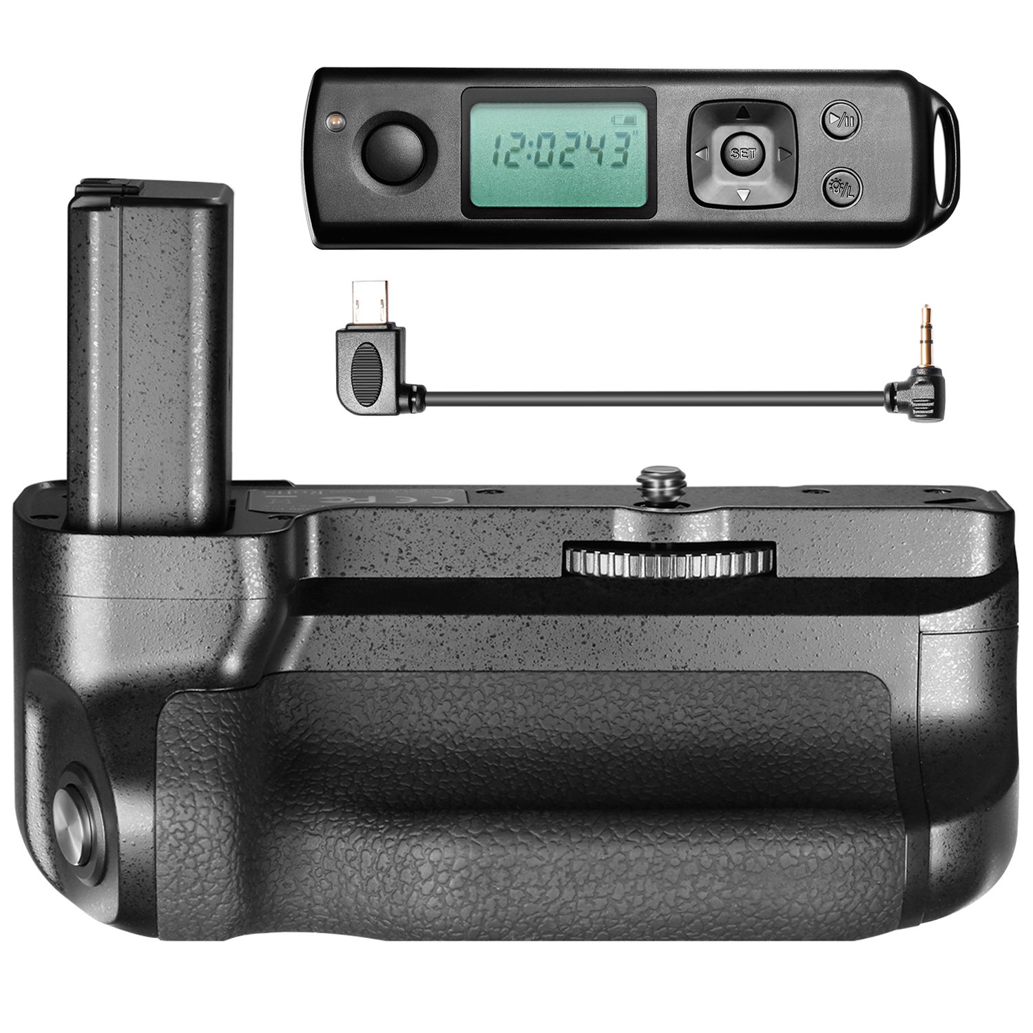 Neewer Battery Grip with Built-in 2.4GHZ LCD Display Remote Control Compatible with Sony A6300 Camera, Work with Sony FW50 Battery(Battery Not Included)