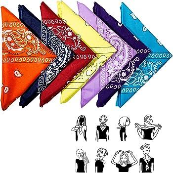 Pack de 12 Unisex Bandana Multicolor para Hombre y Mujer 55CM 55 CM ZWOOS Pa/ñuelos Bandanas de Modelo de Paisley