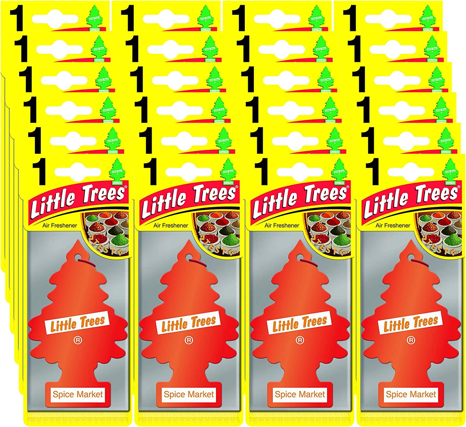 LITTLE TREES Car Air Freshener | Hanging Paper Tree for Home or Car | Spice Market | Pack of 24