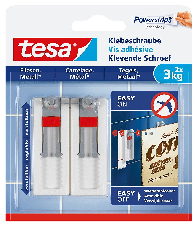 verstellbar, 3 kg Tesa Klebeschraube f/ür Fliesen und Metall