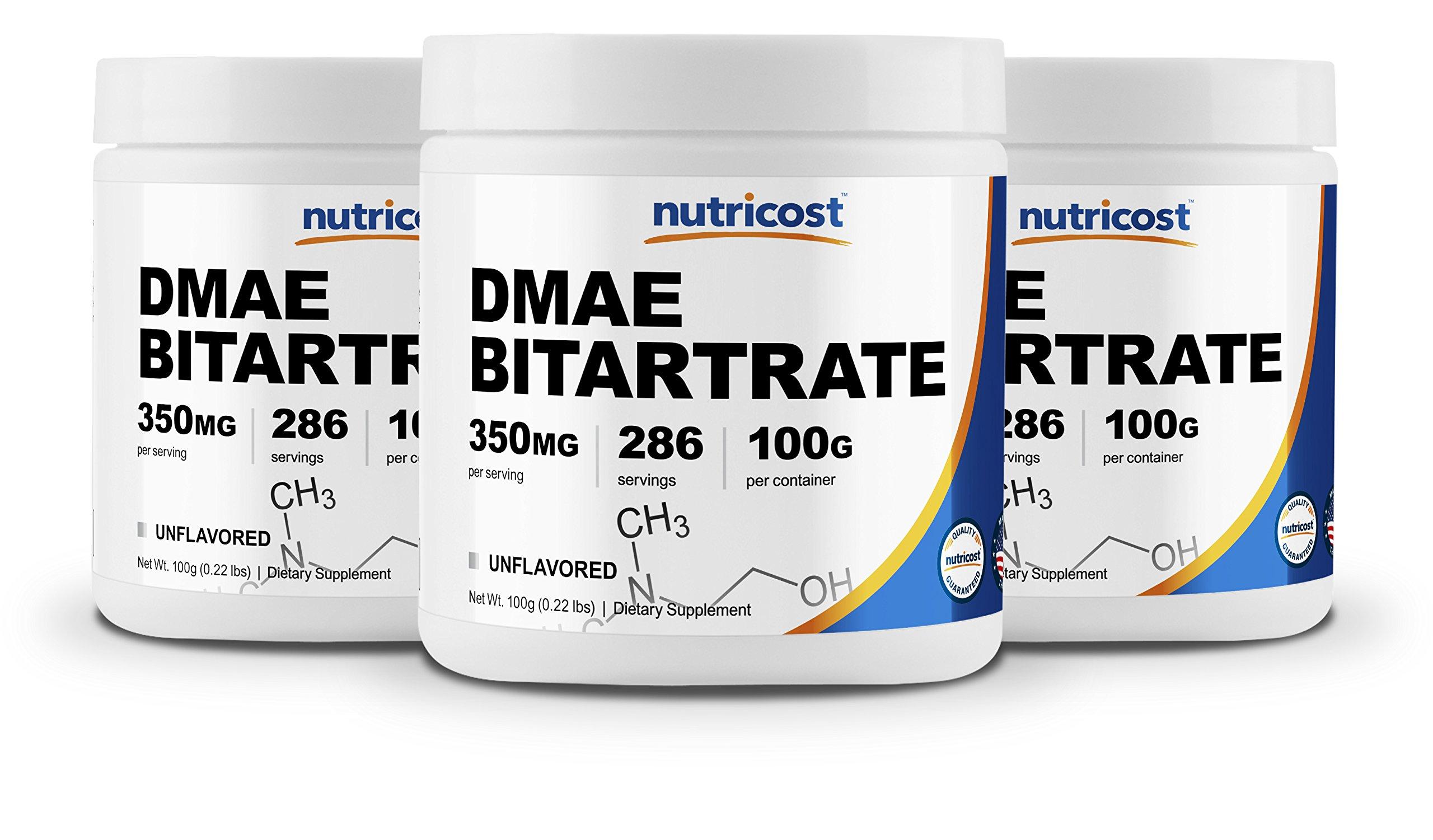 Nutricost Pure DMAE-Bitartrate Powder 100G (3 Bottles)
