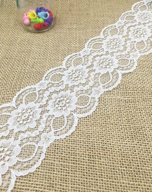 Yulakes - Puntilla de encaje de color blanco, encaje con flores ...