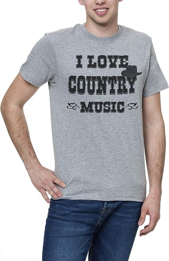 I Love Country Music Band música Hombres Camiseta Gris Mens Grey T-Shirt Tshirt T Shirt: Amazon.es: Ropa y accesorios