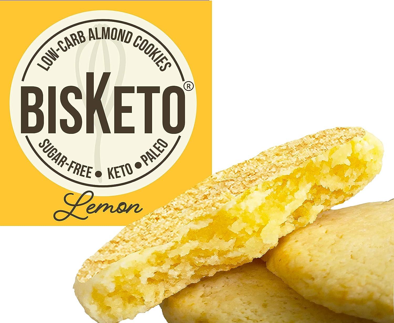 Low Carb Cookies BisKeto - Keto Snacks, Low Net Carbs, No Sugar, Gluten & Grain Free - Box with 6 Packs,12 Cookies (Lemon) - Ketogenic Diet Friendly & ...