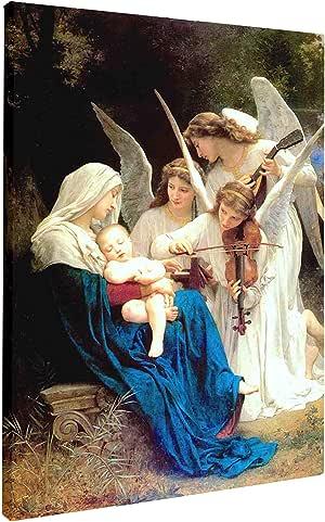 Virgen María y ángeles jugando violín Jesús Madonna y niño