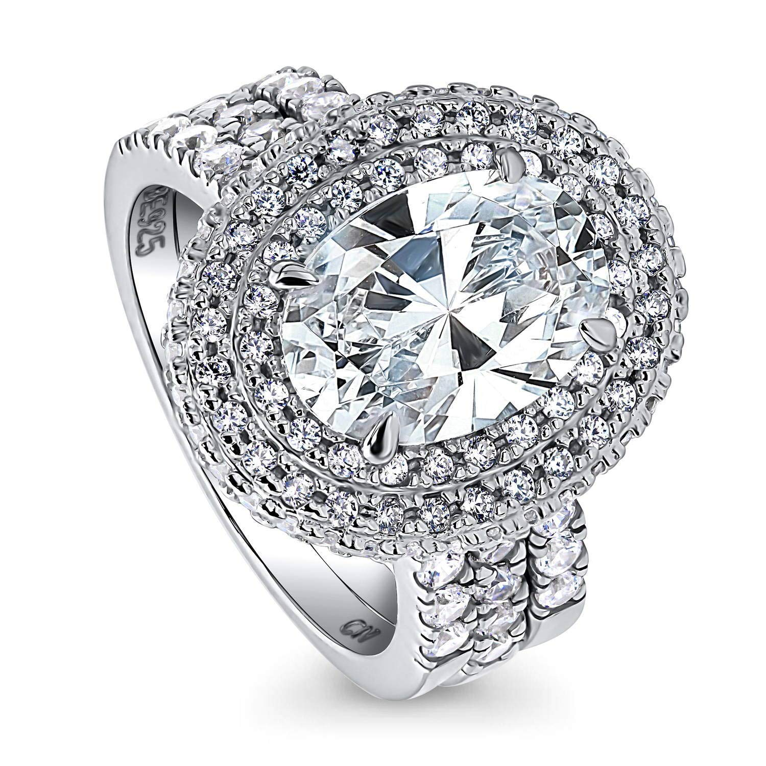 BERRICLE Rhodium Plated Sterling Silver Oval Cut Cubic Zirconia CZ Halo Engagement Wedding Ring Set 4.75 CTW Size 6 by BERRICLE
