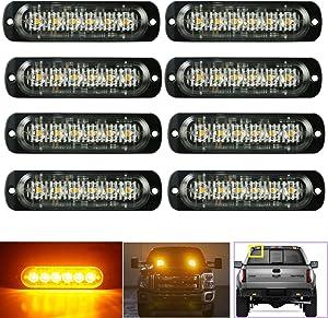 (8 Pack, Amber) LED Strobe Light, PME 6-LED High Efficient Surface Mount Emergency Warning Strobe Light Bar for Car SUV Pickup Truck Jeep