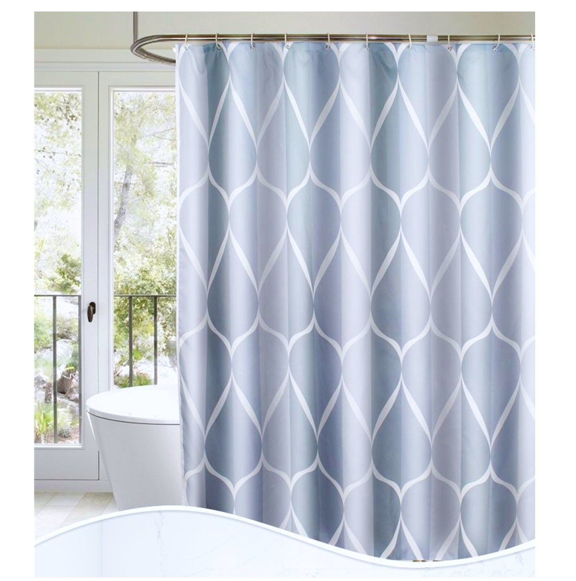 S·Lattye Luxury Shower Curtain Liner Water Repellent Fabric Washable Cloth (Hotel Quality, Friendly, Heavy Weight Hem) - 72'' x 78'', Long, Gray Ripple