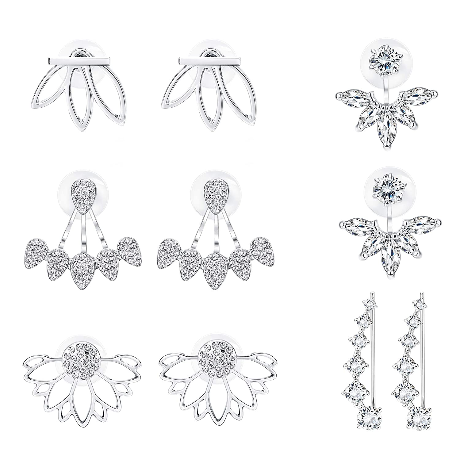 Milacolato 5 pairs Hollow Lotus Flower Ear Jackets For Women Girls Ear Stud Simple Chic Earrings MLE-M-E0035-S