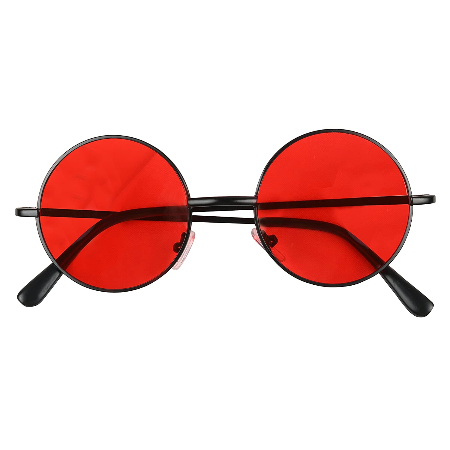 a215b6809d Shadyveu retro colorful tint lennon style round groovy hippie wire  sunglasses black frame red lens clothing