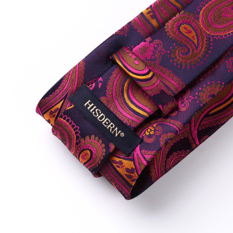 HISDERN Paisley Tie Handkerchief Woven Classic Men's Necktie & Pocket Square Set TP930B8S-4
