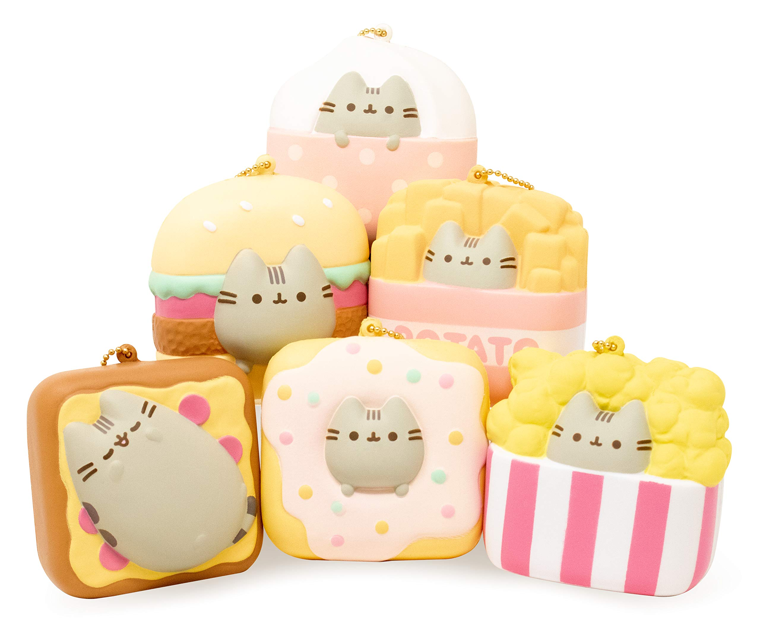 Hamee Slow Rising Squishy [Pusheen Cat Collection] Square Edition [6 Pc. Pusheen Cat Square Set] Ball Chain Adorable Soft Stress Relief, Pizza/Hamburger/Fries/Donut/Popcorn/Ice Cream