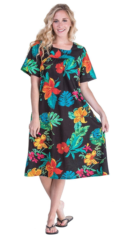 La Cera Plus Cotton Dress - Short Sleeve House Dress in Paradise Floral