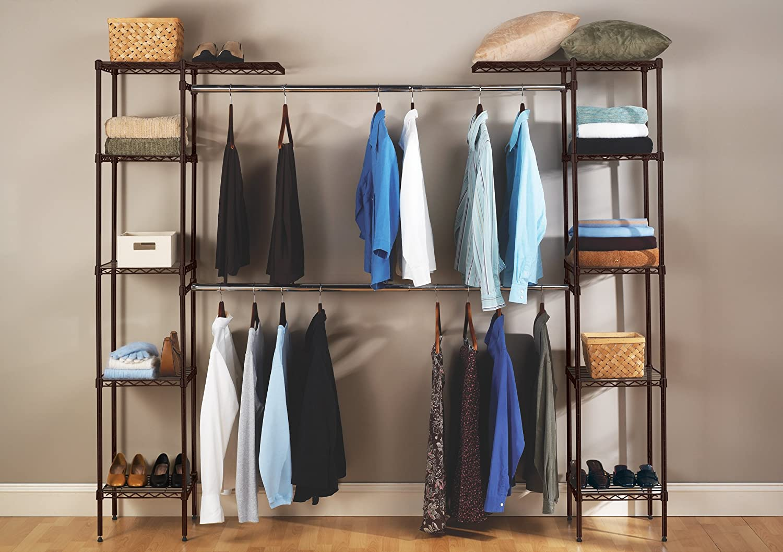 Amazon.com: Seville Classics Expandable Closet Organizer System, Satin  Bronze: Home U0026 Kitchen