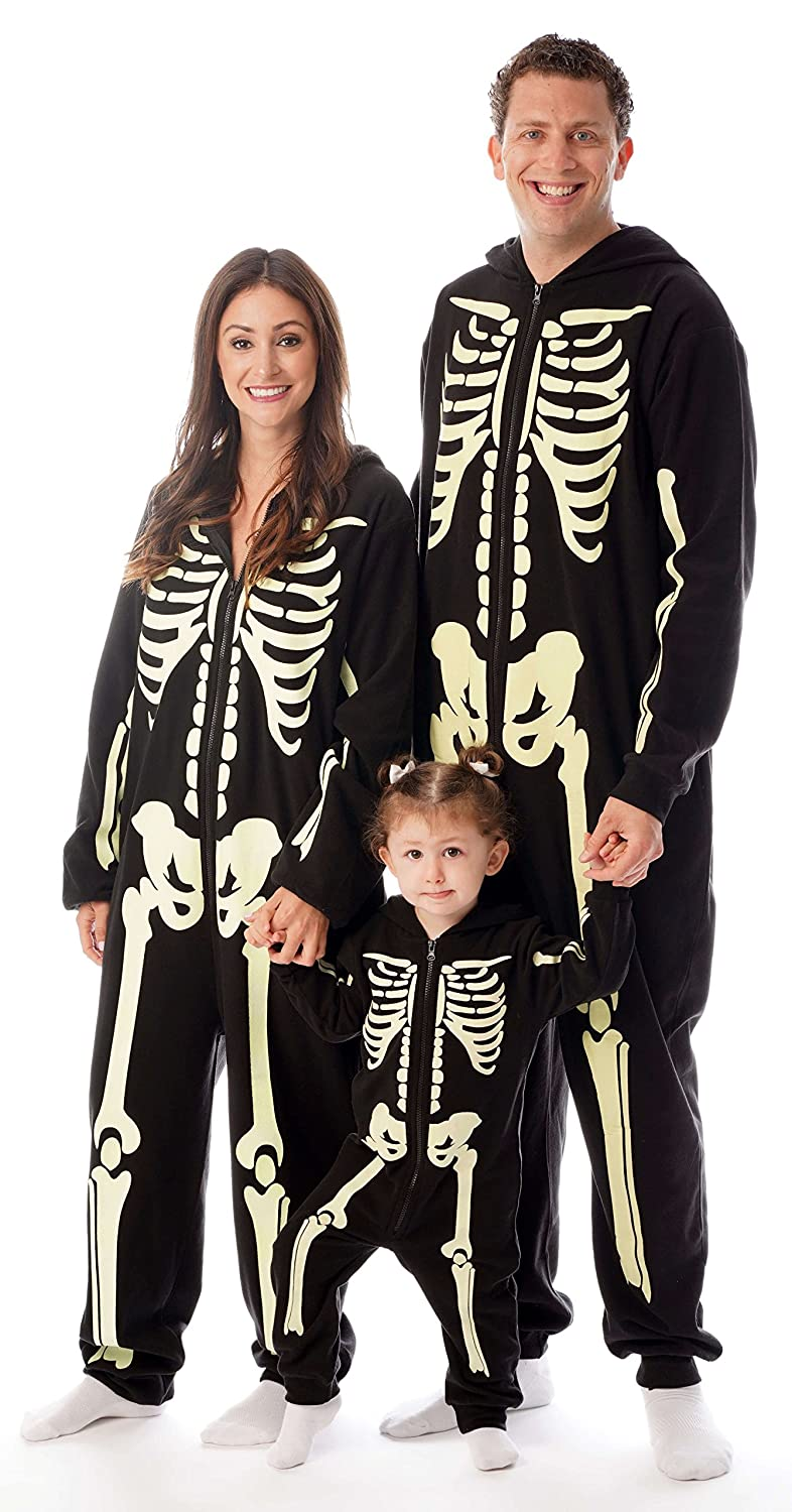 4bbf8874b GLOW IN THE DARK: Kick back in striking spooky fashion in these glowing  skeleton jumpsuits. Perfect for Halloween, cosplay, kigurumi, or simply  comfortably ...