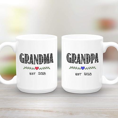 b5c37141bbf Grandma and Grandpa Est 2018, Two Large 15 oz Mugs, Coffee Mug Gift Set