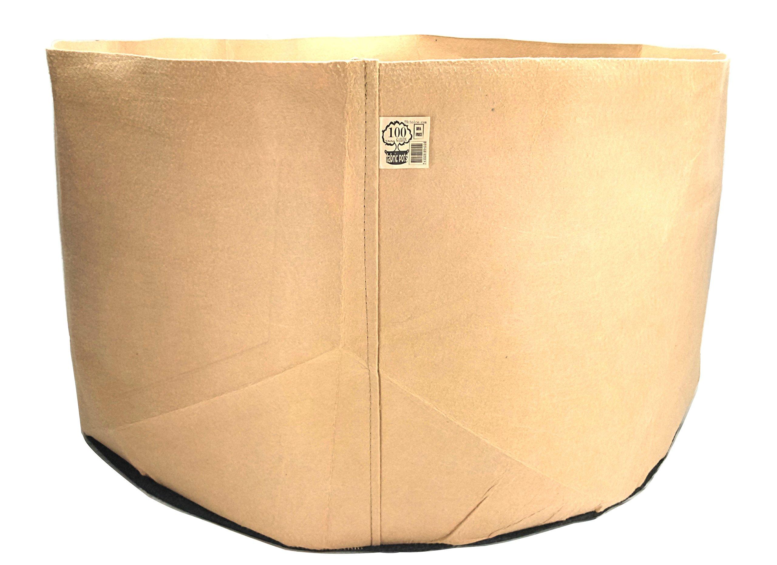 10-Pack TH CHOICE Premium Black Fabric Pots Aeration Grow Bags Heavy Duty Planter (100 Gallon w/ Handles, Tan)