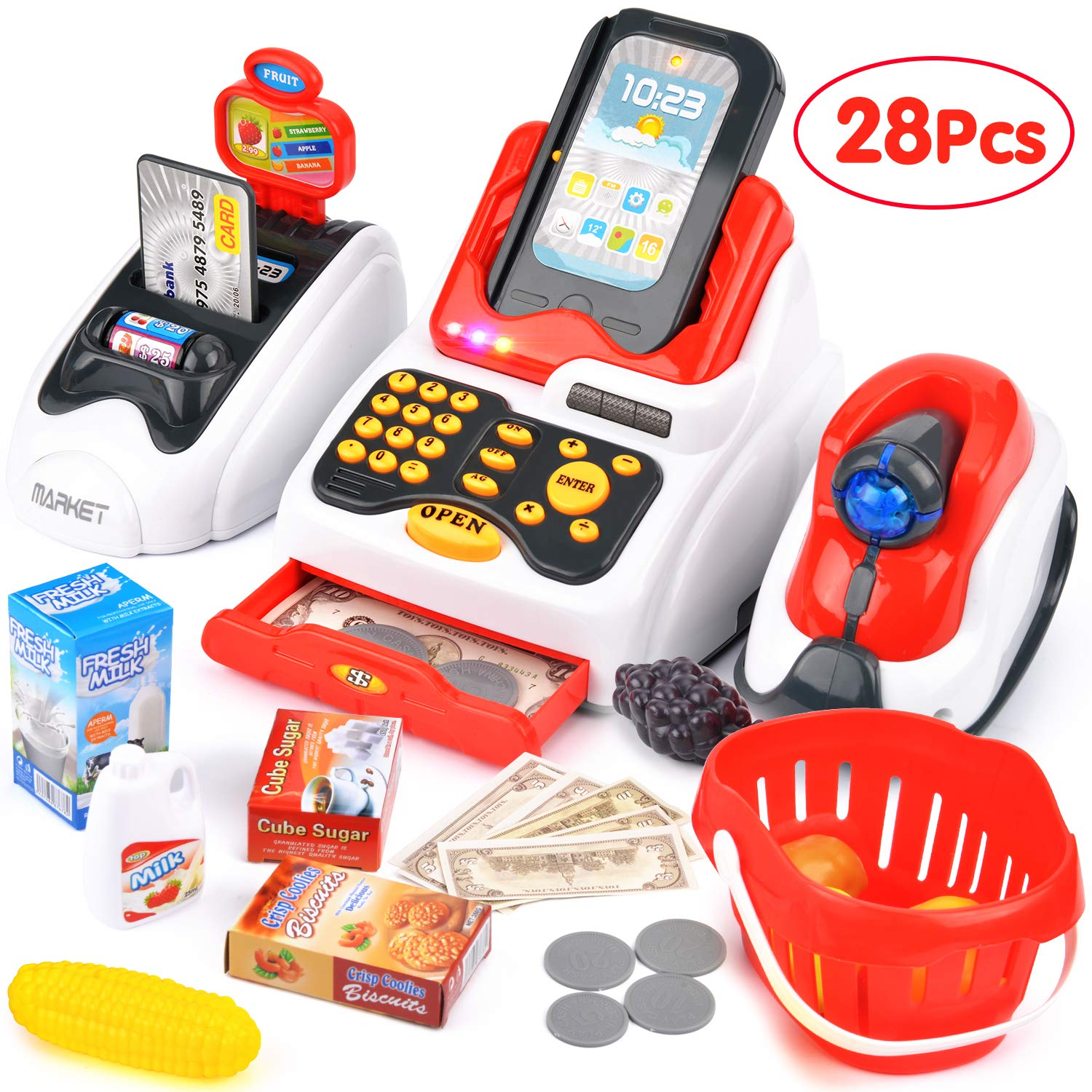 Victostar Toy Cash Register with Checkout Scanner,Fruit Card Reader, Credit Card Machine, Play Money and Food Shopping Play Set for Kids (Red)