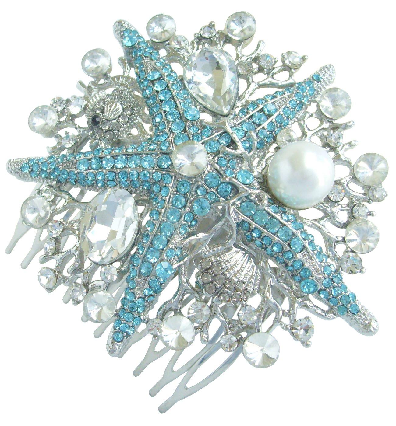 Sindary Silver Tone Wedding Headpiece Blue Clear Rhinestone Crystal 3.15'' Starfish Bridal Hair Comb HZ6412