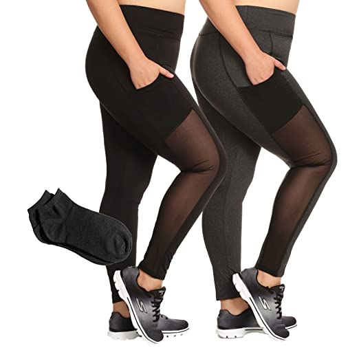 f65a5c1ca8b Women s Pius Size Everyday Active Yoga Plus Size High Waist Sport Basic  Leggings and Capris w Free Socks at Amazon Women s Clothing store
