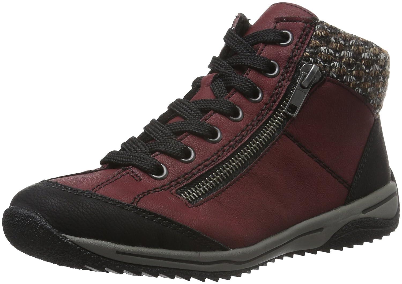Rieker L5223 - Zapatillas Deportivas Altas de Material sintético Mujer 42 EU Rojo (Schwarz/Vino/Terra)