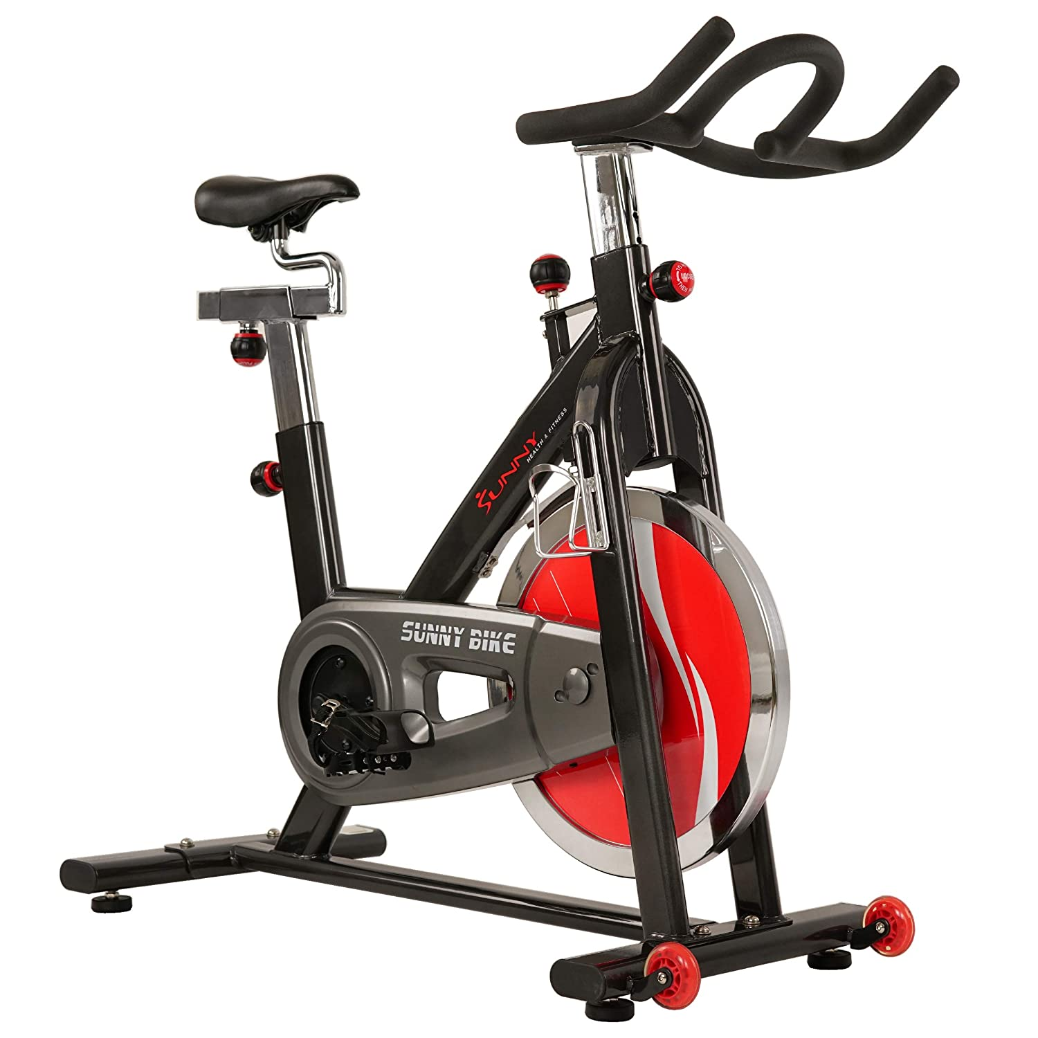 Sunny Health & Fitness SF-B1002 49lb Flywheel Belt Drive Indoor Cycle Bike