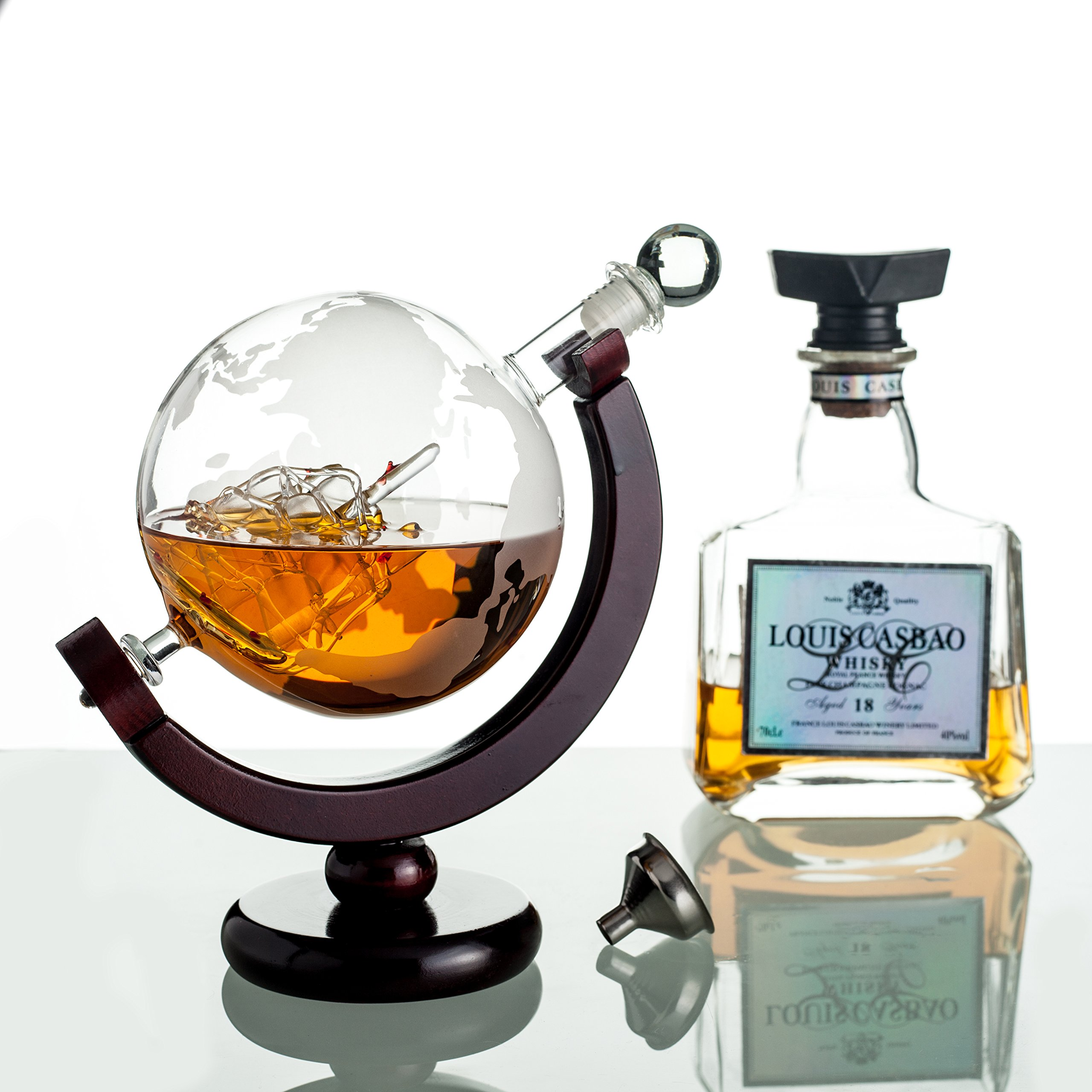 Whiskey Globe Decanter with Antique Dark Finished Wood Stand Bar Funnel 850ml Perfect Gift Set Scotch Liquor Bourbon Wine Vodka by ERAVINO (Image #5)